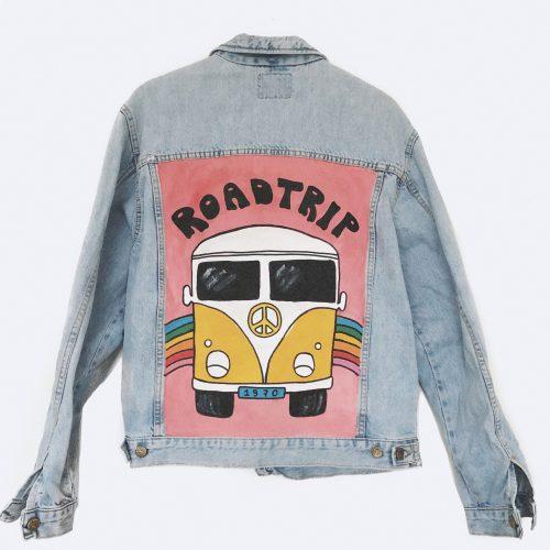 Handpainted Denim Jacket Roadtrip