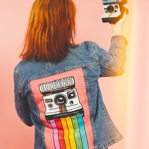 Handpainted Denim Jacket Polaroid