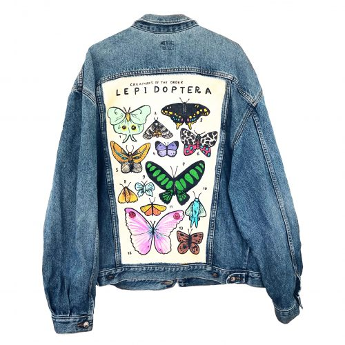 Handpainted Denim Jacket Butterfly Bomb