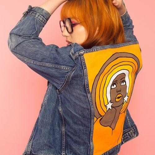 Handpainted Denim Jacket Retro Babe