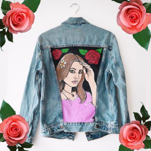 Handpainted Denim Jacket Lana Del Rey