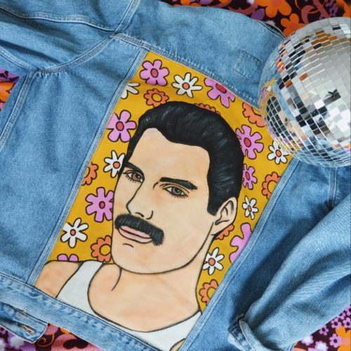Handpainted Denim Jacket Freddie Mercury