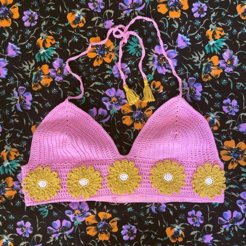 SMALL Handmade Crochet Top Flowerpower 🌸