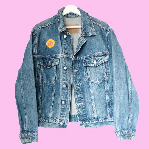 Handpainted Denim Jacket Disco Doll